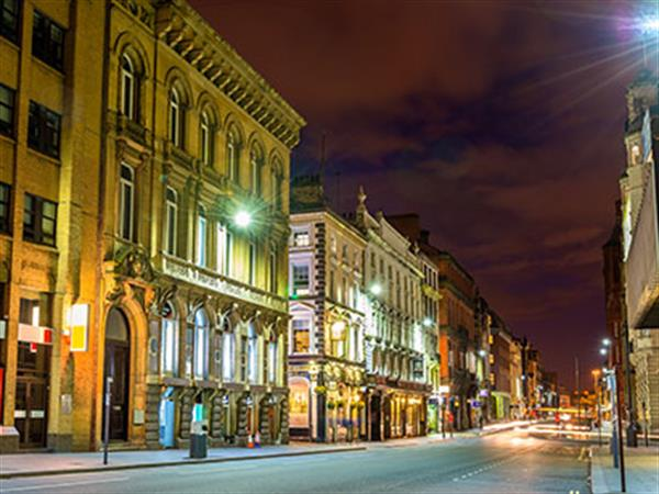 Liverpool city centre at night time without any cars or people