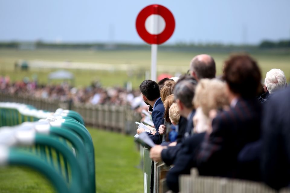Racegoers by the Finishing Post at the Adnams July Course